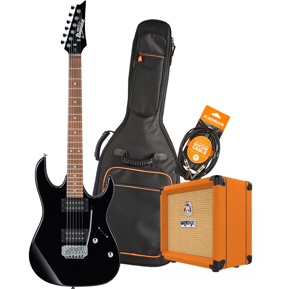 Ibanez RX22EXBKN Electric Guitar Pack with Orange Crush 12 Amplifier - Armour Gig Bag and Lead