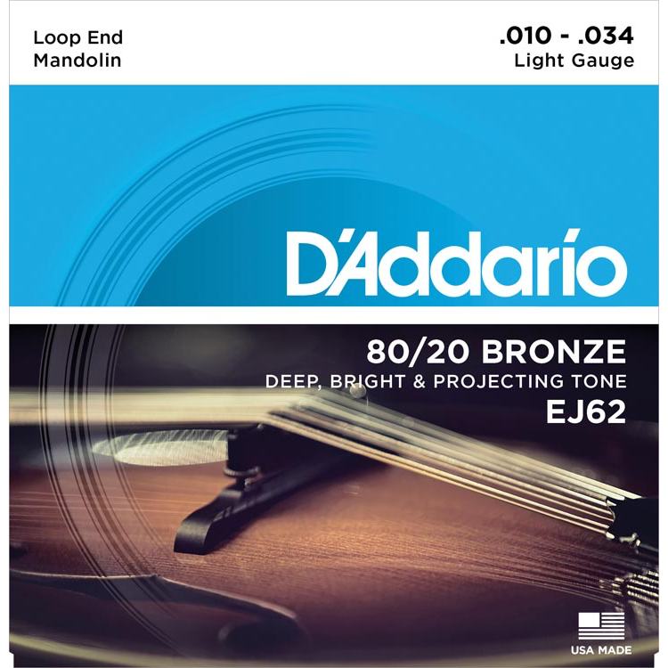 D'Addario EJ62 80/20 Bronze Mandolin Strings - Light - 10-34