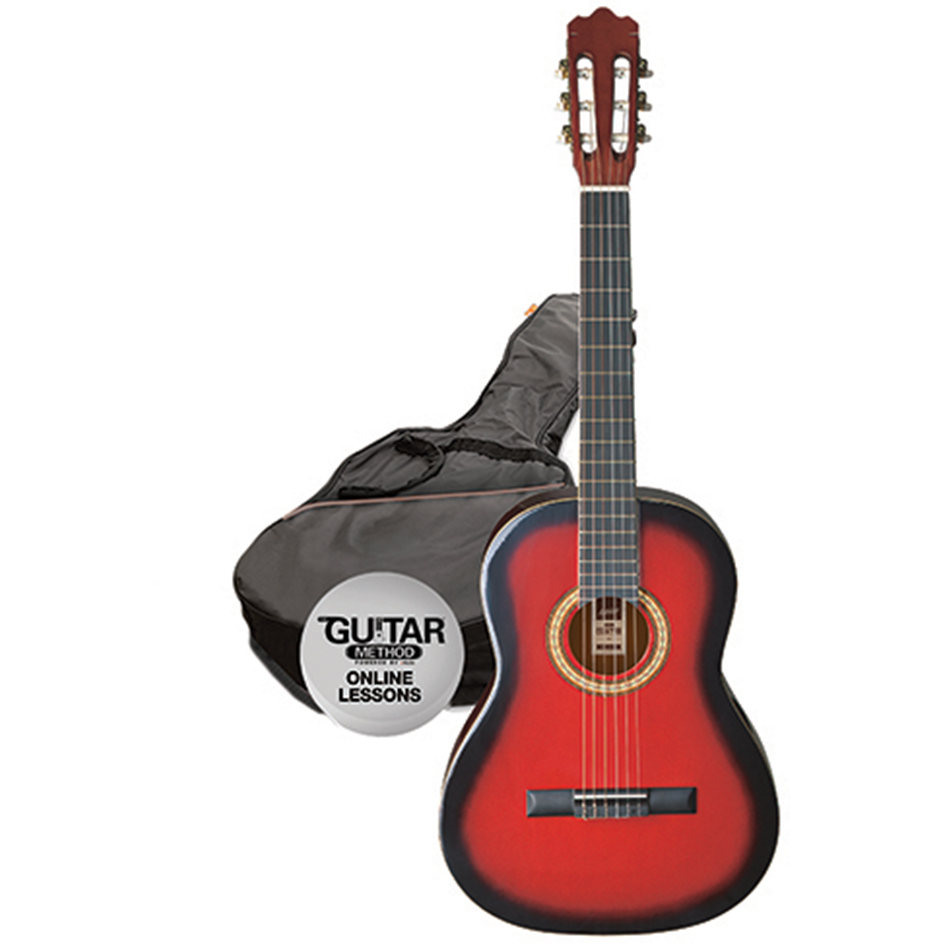 Ashton SPCG34 TRB Classical Guitar Starter Pack - 3/4 Size - Transparent Red Burst