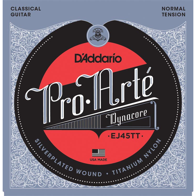 D'Addario EJ45TT ProArte DynaCore Classical Guitar Strings - Titanium Trebles - Normal Tension