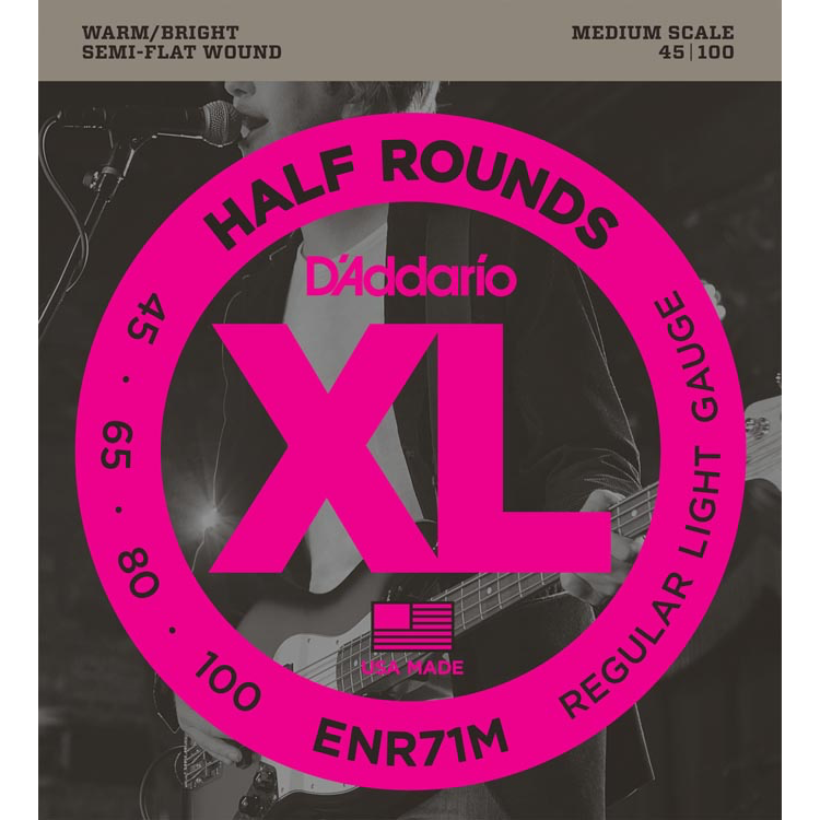 D'Addario ENR71M Half Round Bass Guitar Strings - Regular Light - 45-100 - Medium Scale