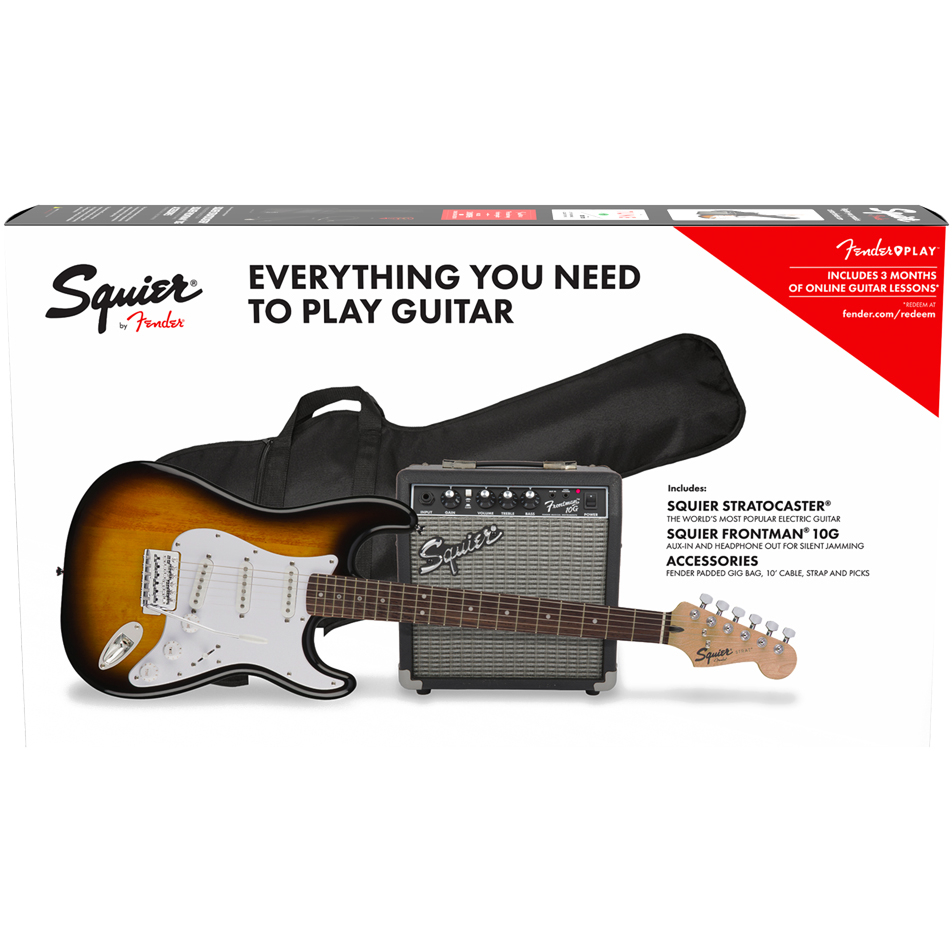 Squier Electric Guitar Strat Pack w/Amplifier - Laurel Fingerboard/Brown Sunburst