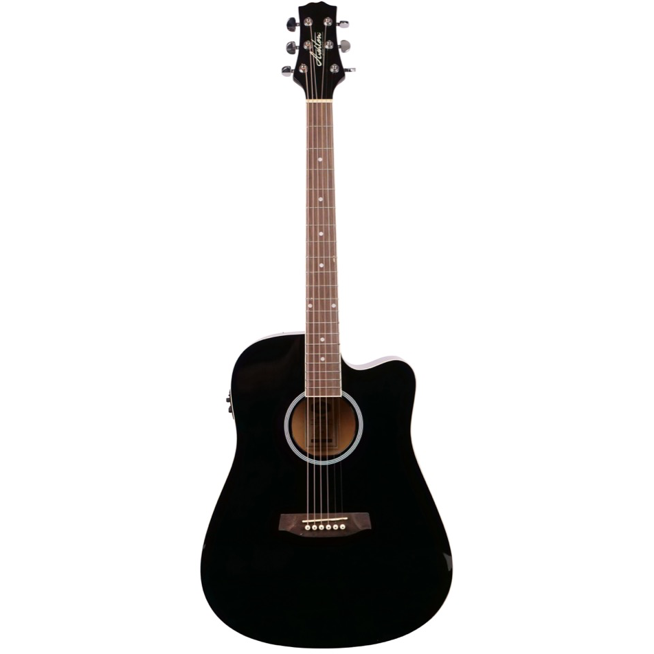 Ashton D20SCEQBK Solid Top Acoustic Guitar with EQ - Black