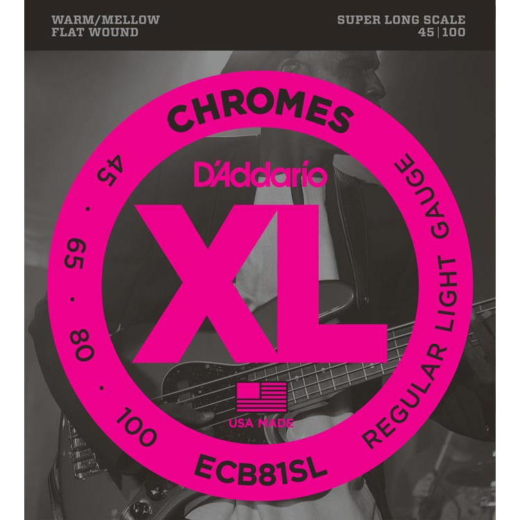 D'Addario ECB81SL Chromes Bass Guitar Strings - Light - 45-100 - Super Long Scale