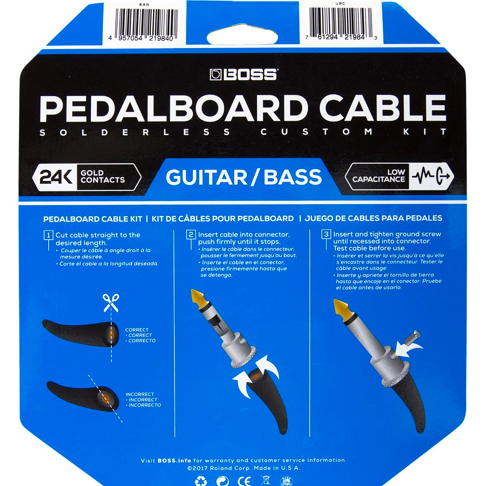 BOSS Pedalboard cable kit - 24 connectors - 24ft/7.3m cable