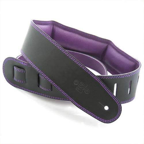 "DSL Genuine Leather Guitar Strap 2.5"" - Black w/Purple Backing"