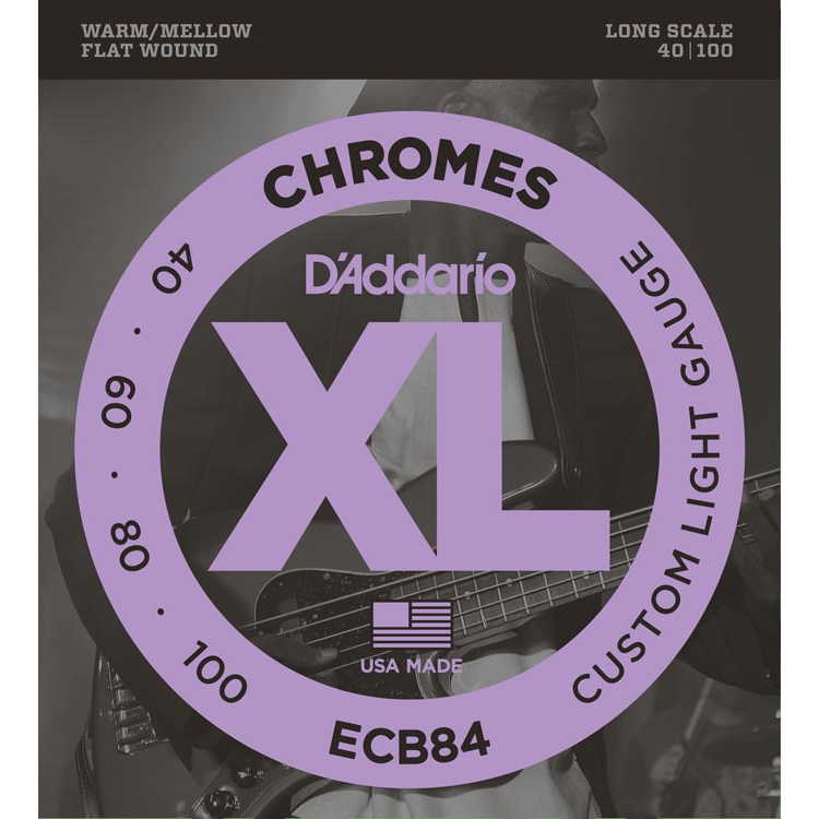 D'Addario ECB84 Chromes Bass Guitar Strings - Custom Light - 40-100 - Long Scale
