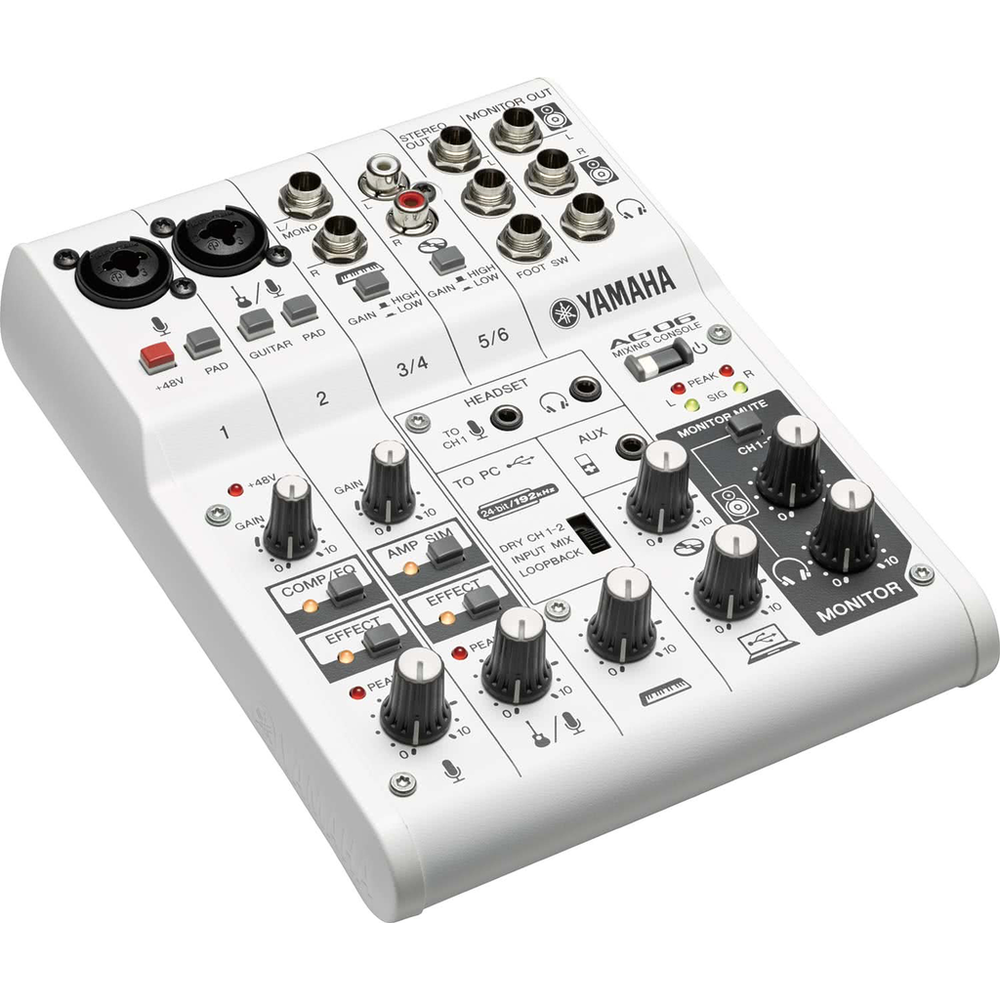 Yamaha AG06 24bit/192kHz Mixer/USB Audio Interface w DSP & Loopback