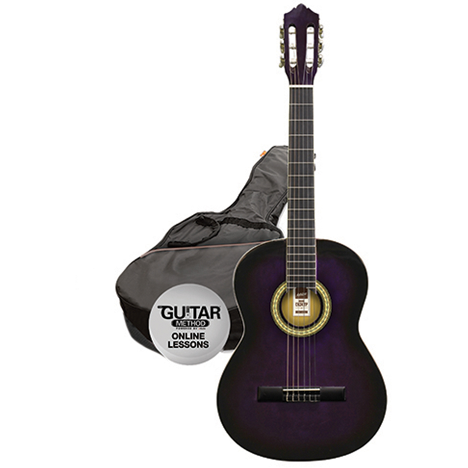 Ashton SPCG34 TP Classical Guitar Starter Pack - 3/4 Size - Transparent Purple