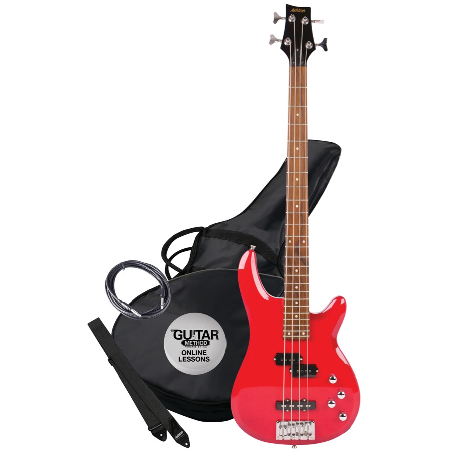 Ashton AB4TRD Bass Guitar in Red - Red