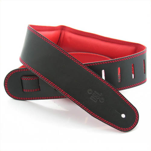 "DSL Genuine Leather Guitar Strap 2.5"" - Black w/Red Backing"