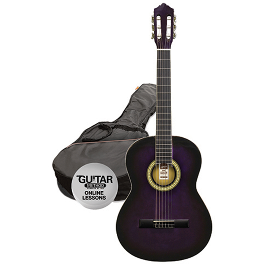 Ashton SPCG14 TP Classical Guitar Starter Pack - 1/4 Size - Transparent Purple