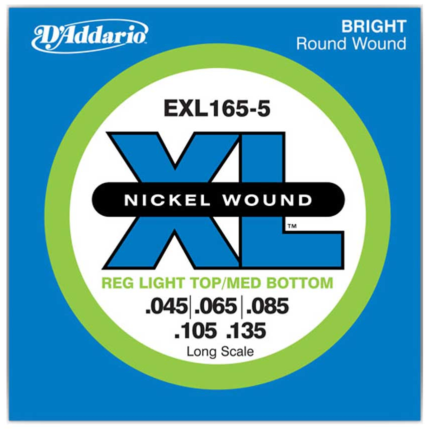 D'Addario EXL165 5-String Nickel Wound Bass Guitar Strings - Custom Light - 45-135 - Long Scale