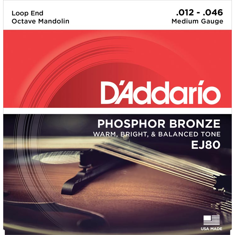 D'Addario EJ80 Phosphor Bronze Octave Mandolin Strings - Medium - 12-46