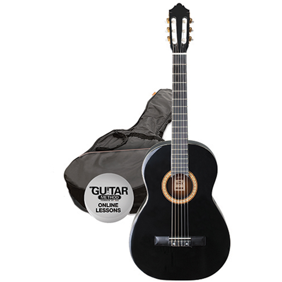 Ashton SPCG34 BK Classical Guitar Starter Pack - 3/4 Size - Black