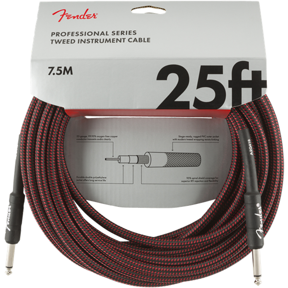 Fender Cable - Professional Series - 25' Red Tweed