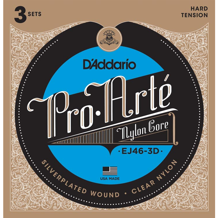 D'Addario EJ46-3D Pro-Arte Nylon Classical Guitar Strings - Hard Tension - 3 Sets