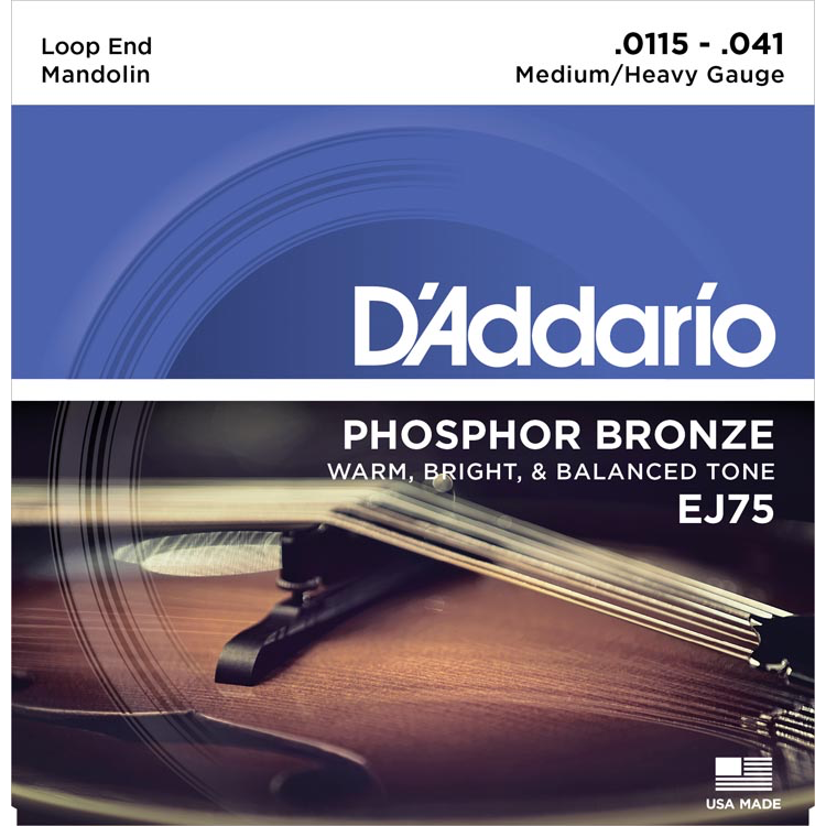 D'Addario EJ75 Mandolin Strings - Phosphor Bronze - Medium/Heavy - 11.5-41