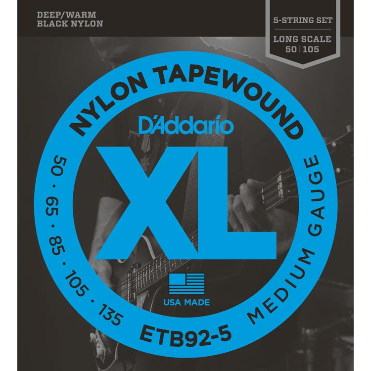 D'Addario ETB92-5 5-String Tapewound Bass Guitar Strings - Medium - 50-135 - Long Scale