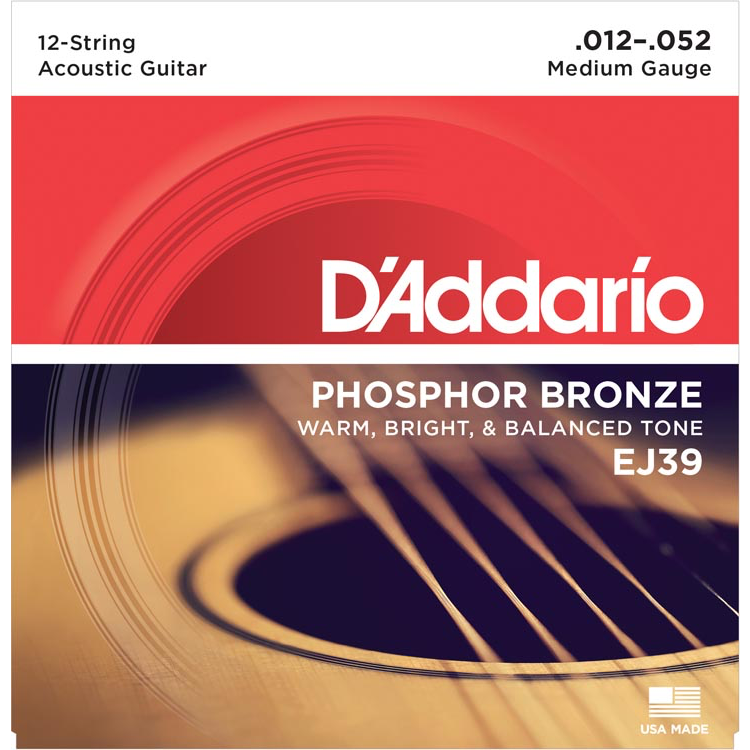 D'Addario EJ39 12-String Phosphor Bronze Acoustic Guitar Strings - Medium - 12-52