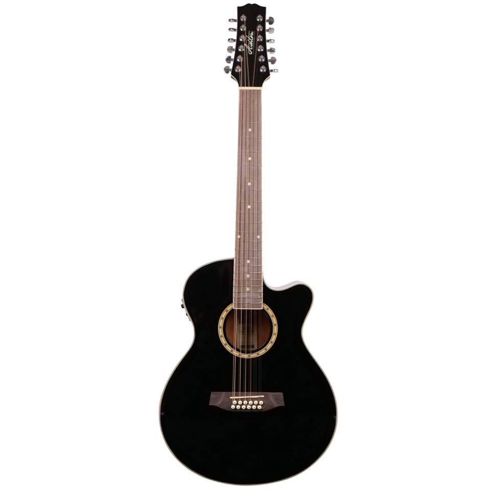 Ashton SL29/12CEQBK 12 String Slimline Acoustic Guitar with Cutaway and EQ - Black