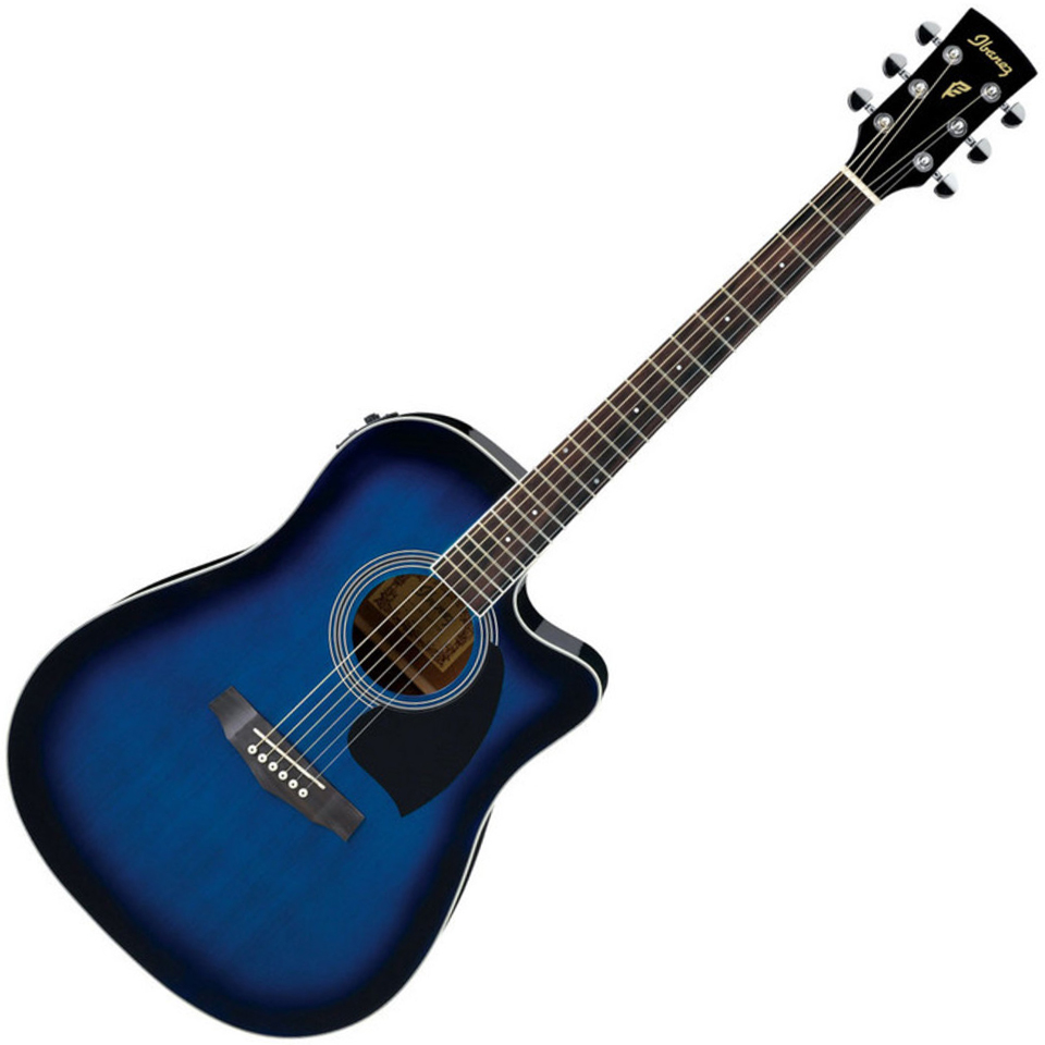 Ibanez PF15ECE TBS Acoustic Guitar - Transparent Blue Sunburst