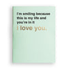 I'm smiling because this is my life and you're in it (i love you) mint green card