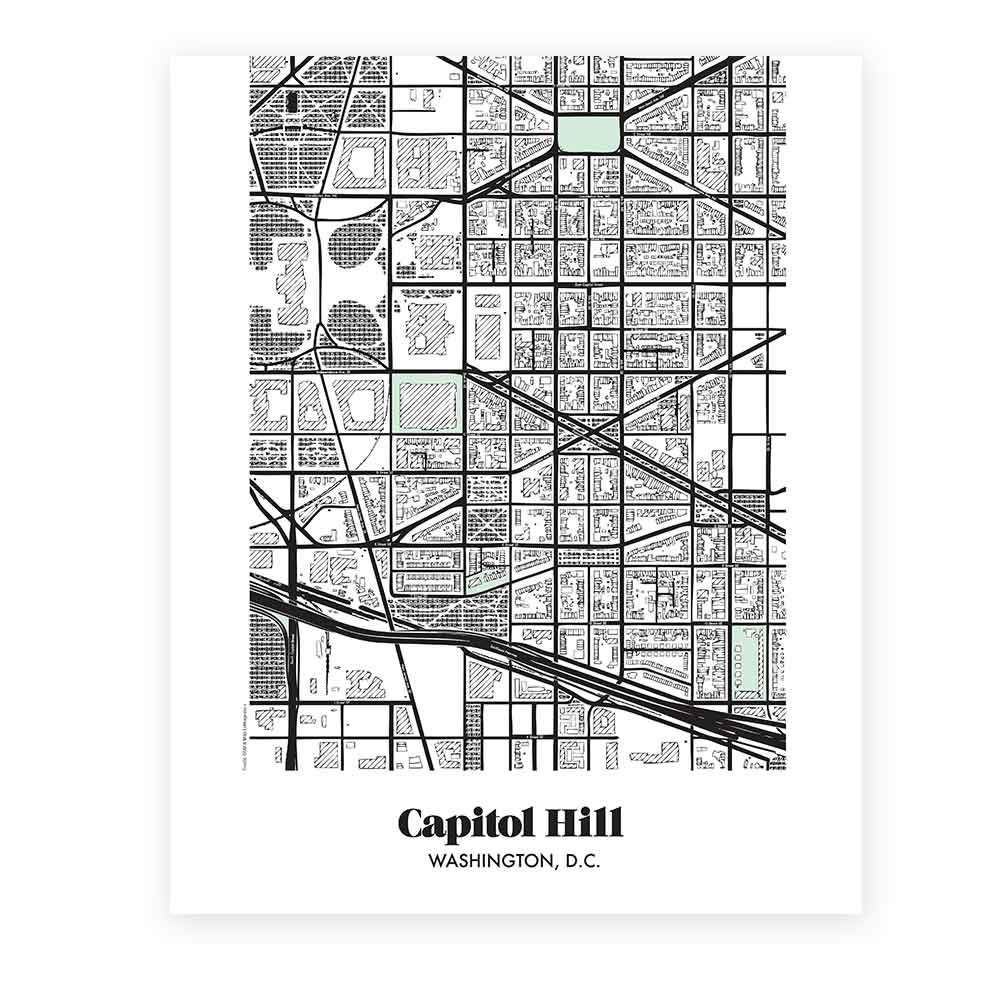 Map of Capitol Hill in Washington DC Miks Letterpess