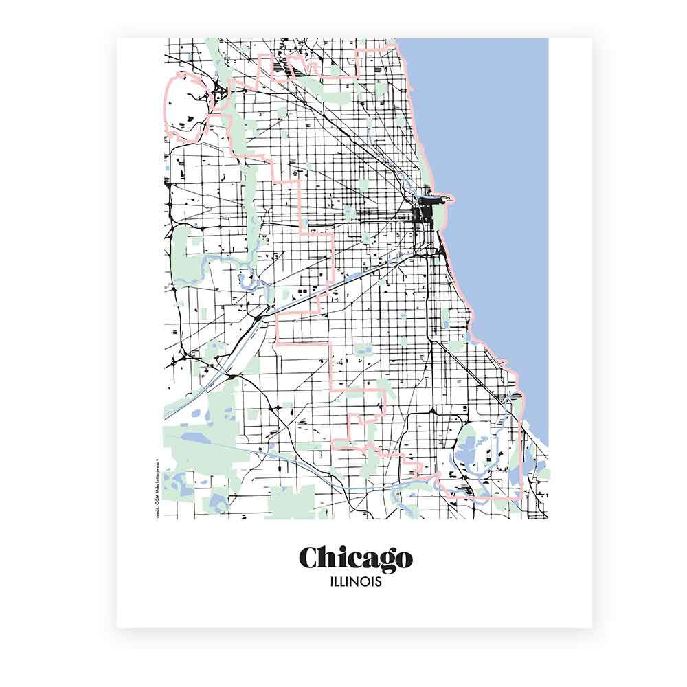 Illinois Chicago Map.Map Of Chicago Illinois Miks Letterpess