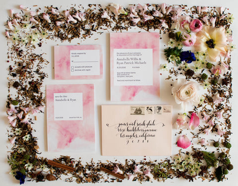 Annabelle Collection Letterpress and watercolor Wedding Invitation Collection
