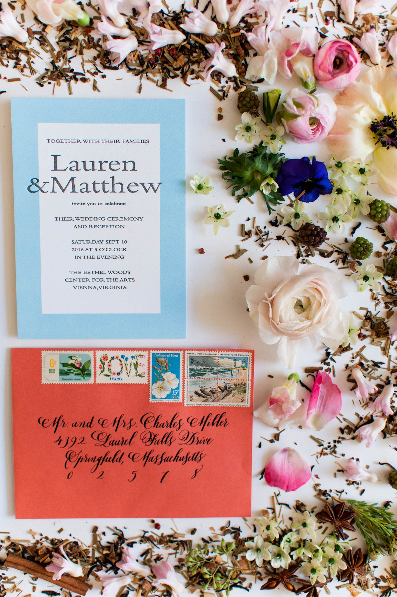Lauren Collection Letterpress Wedding Invitation Collection - Miks ...