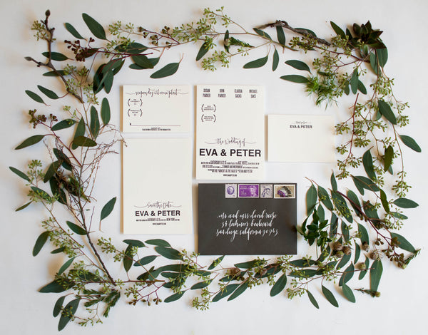 Eva Collection Letterpress Wedding Save The Date