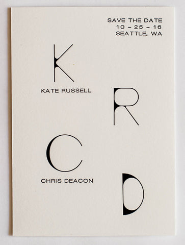 Kate Collection Letterpress Wedding Save The Date