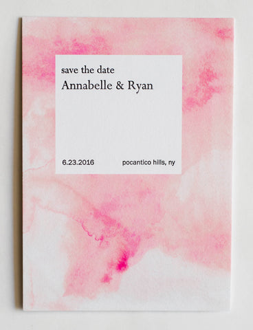 Annabelle Collection Letterpress and Watercolor Wedding Save The Date