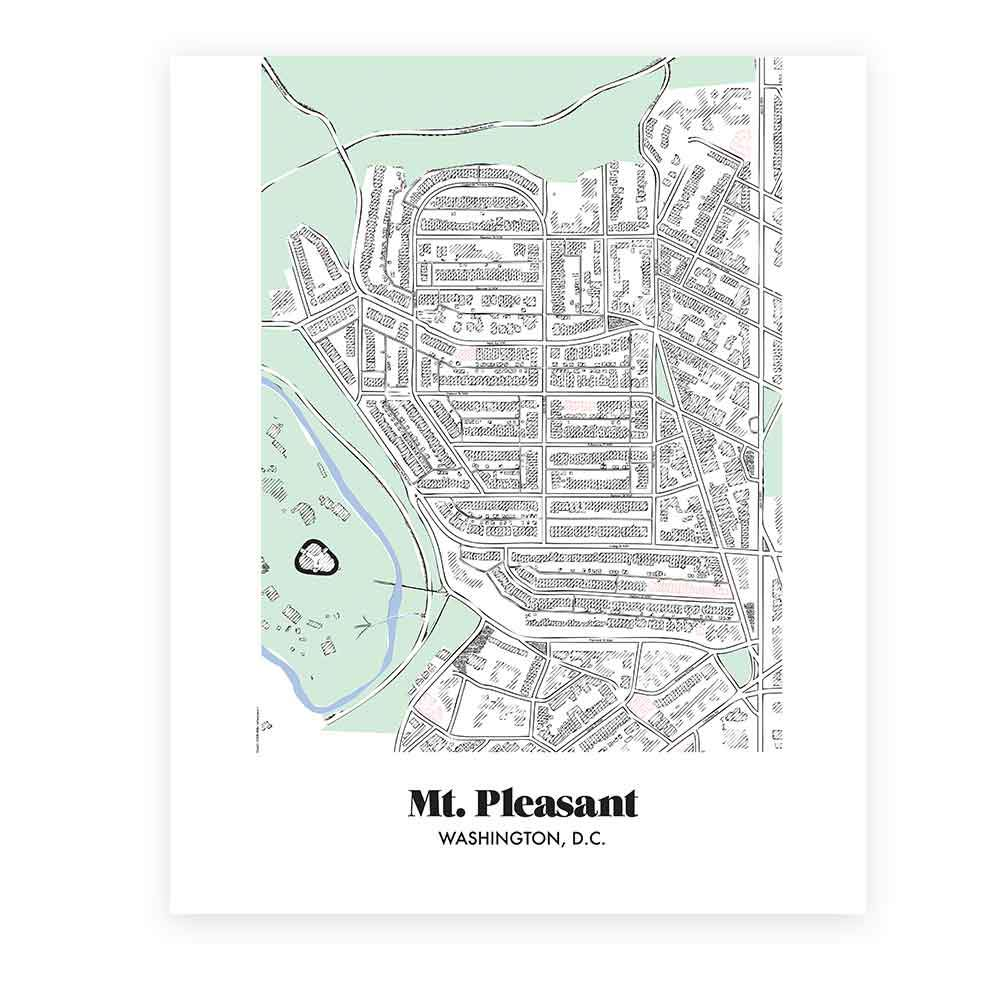Map of Mt Pleasant in Washington DC Miks Letterpess