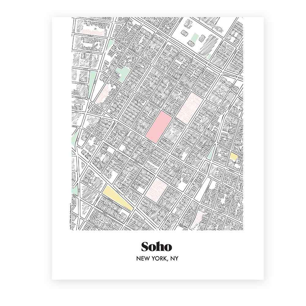 Map of Soho in New York - Miks Letterpess +