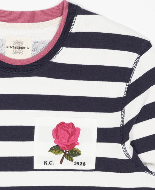 Striped Rose Embroidered Sweatshirt