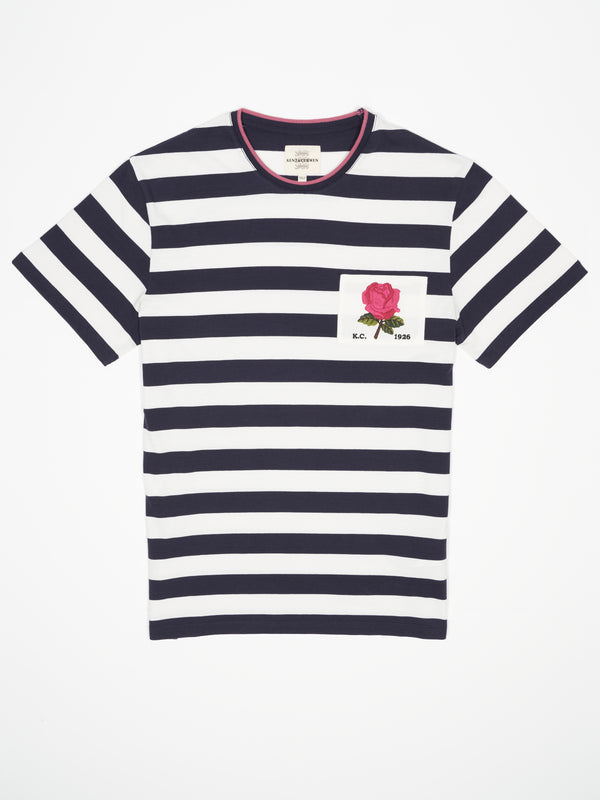 Rose Embroidered Hoop Striped T-shirt