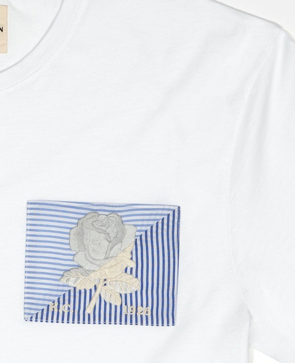 Rose Embroidered Striped Patch T-Shirt