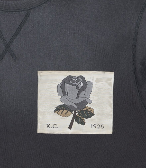 Vintage Wash Woven Rose Sweatshirt