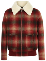 Burgundy Checked Shearling Bomber