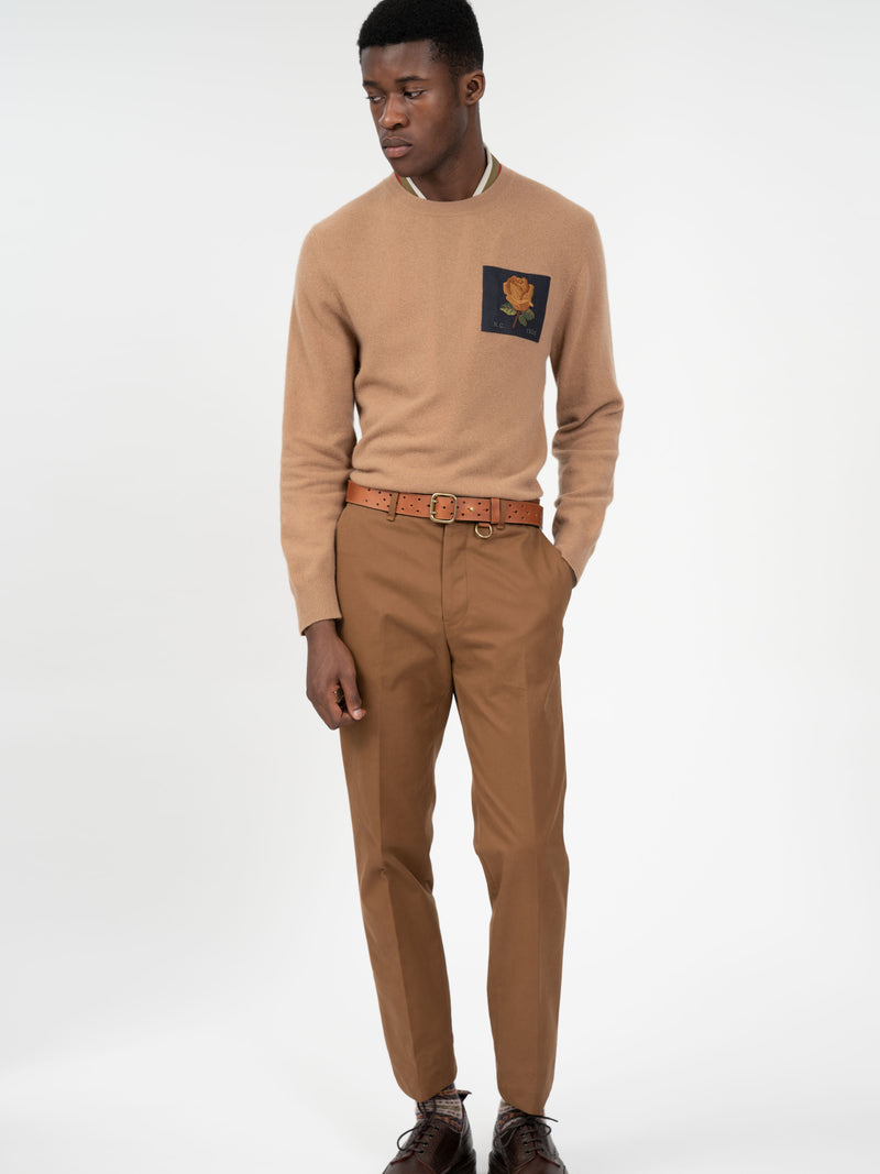 Cashmere Blend Rose Patch Crewneck