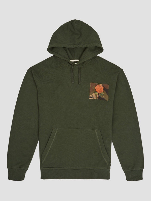 Rose Embroidered Camo Patch Hoodie