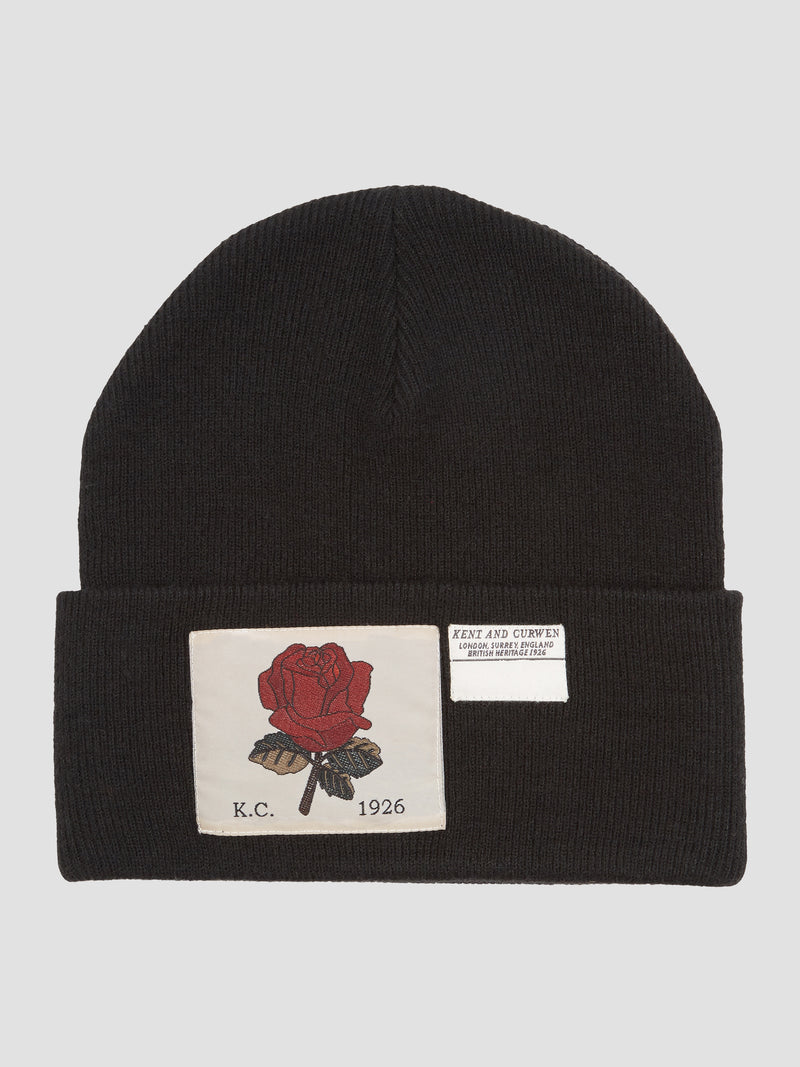 Rose Ribbed Wool Beanie - Black
