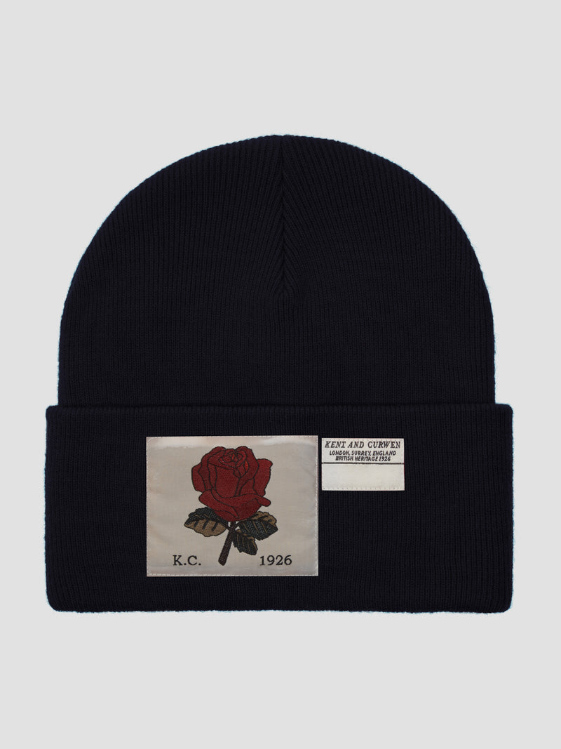 Rose Ribbed Wool Beanie - Navy