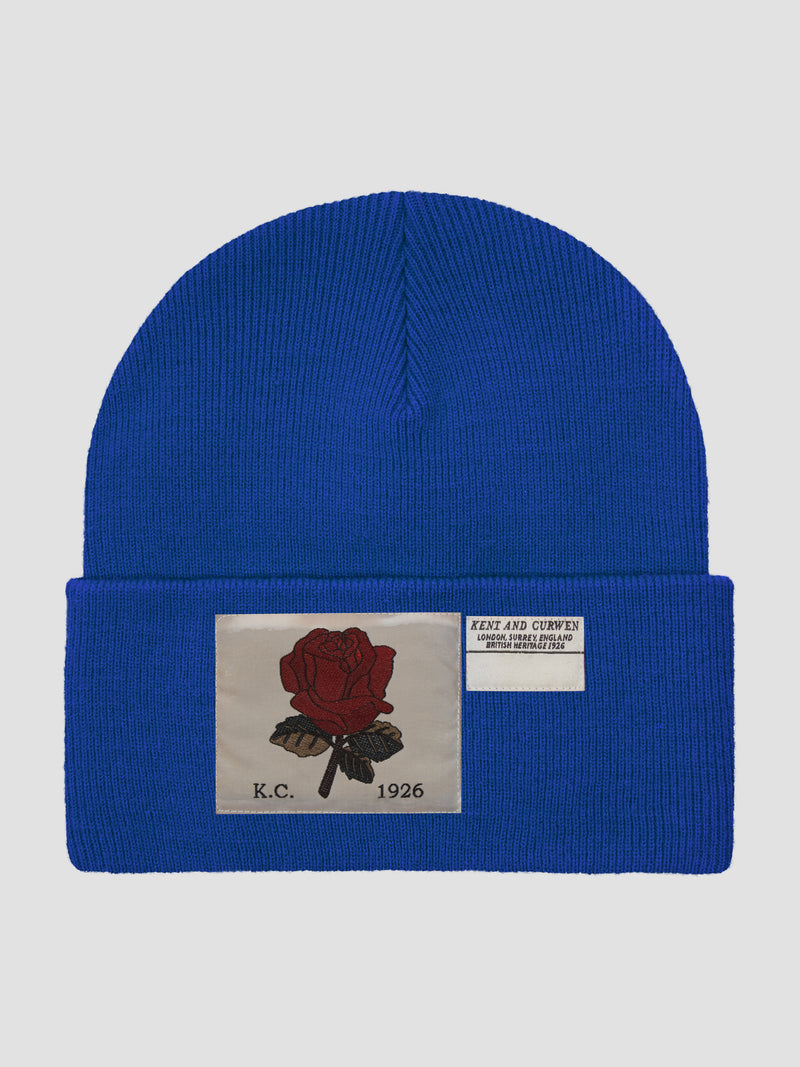 Rose Ribbed Wool Beanie - Cobalt
