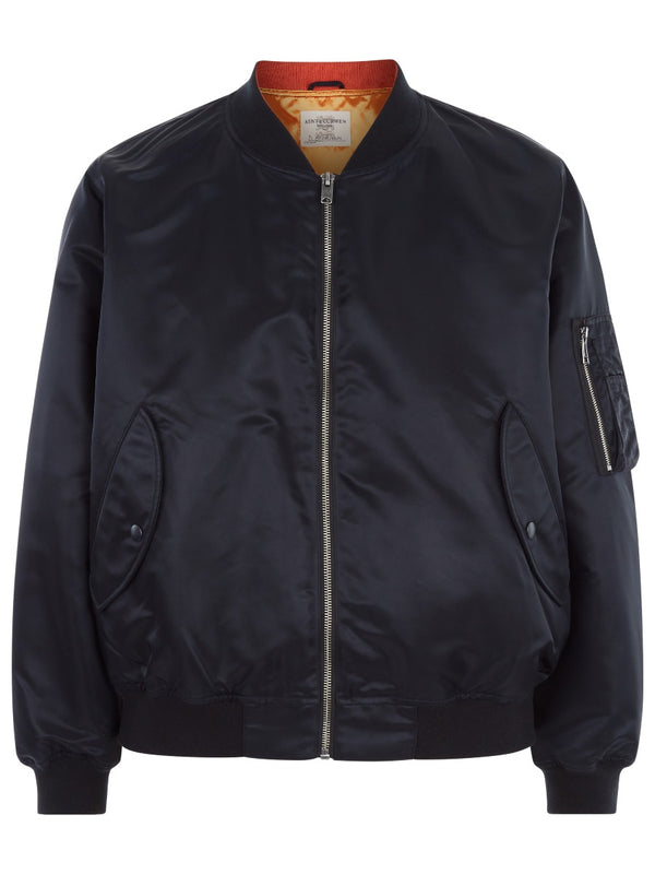Black Nylon Bomber