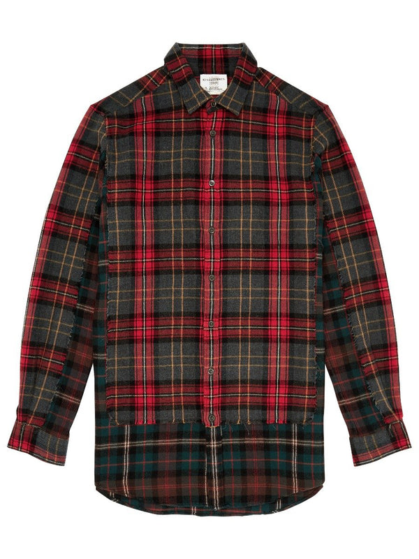 Mixed Check Raw Edge Shirt