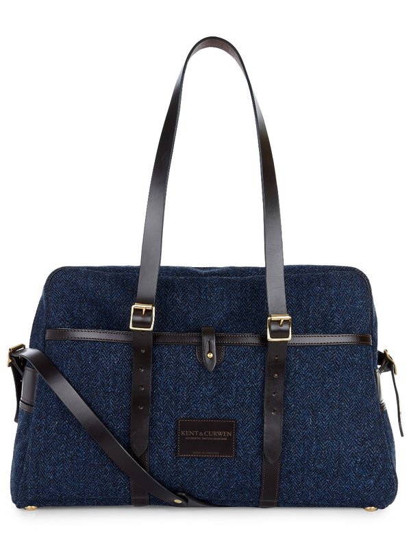 Weekend Holdall In Blue Herringbone