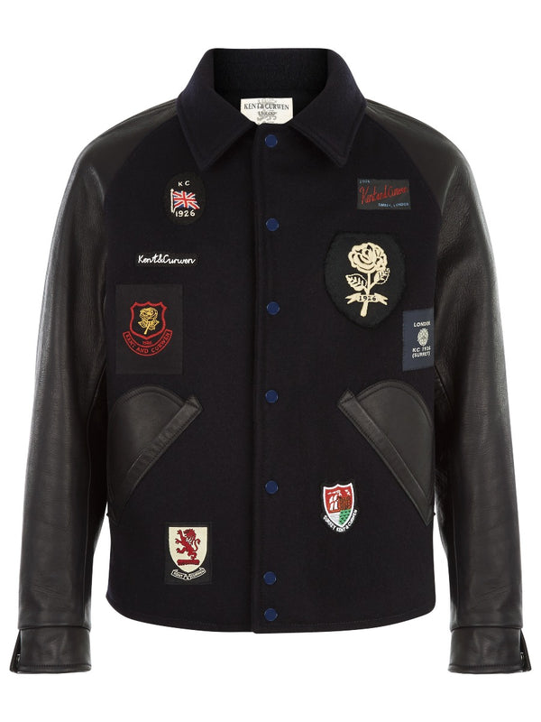 Midnight Blue Varsity Jacket With Patches
